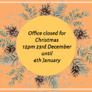 The office will be closing on the 23rd December at 12pm and will reopen on the 4th January